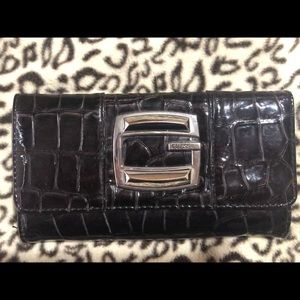 Black patent GUESS checkbook wallet